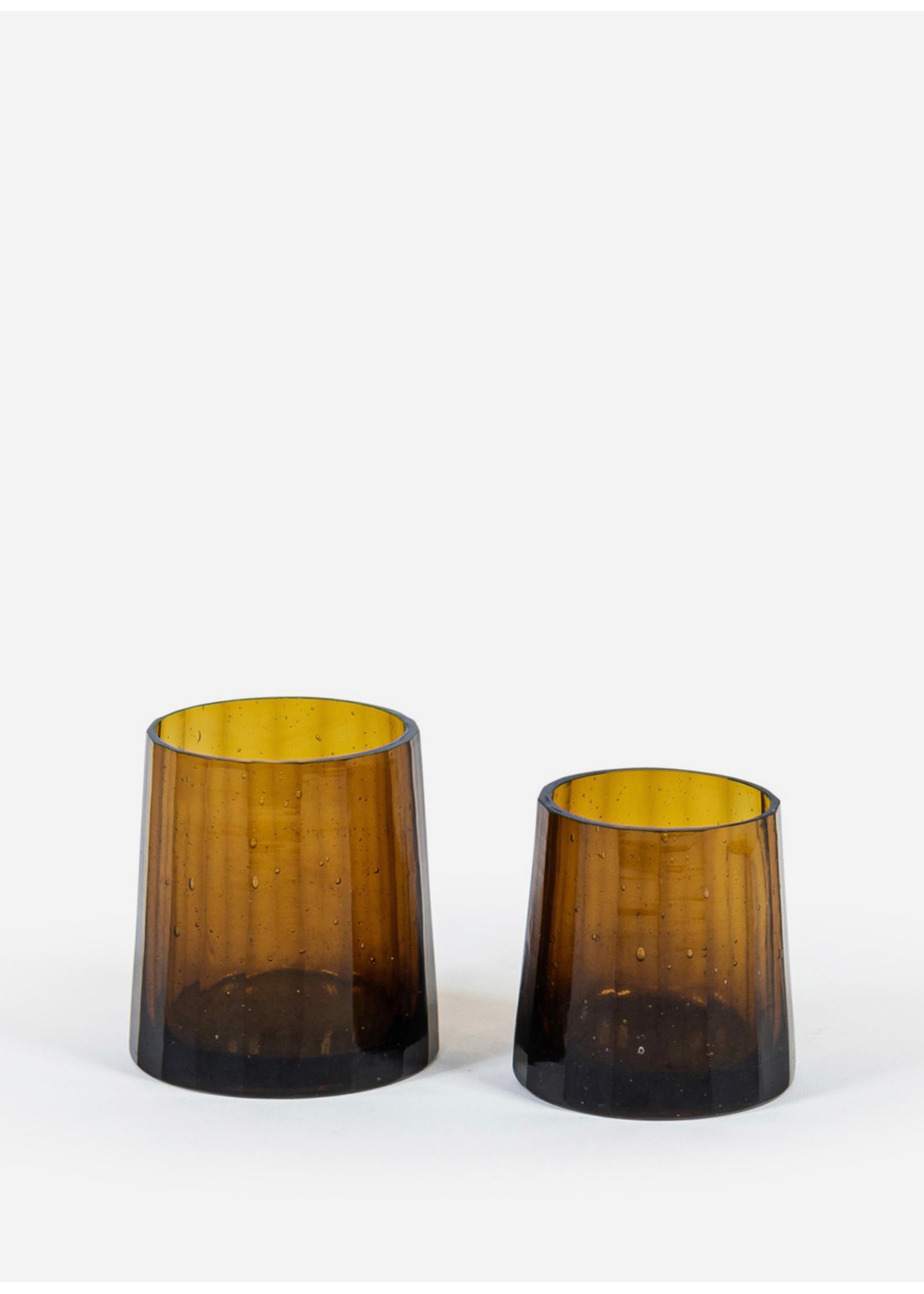 Deko Candles T-light holder  amber shiny long stretched line cut M