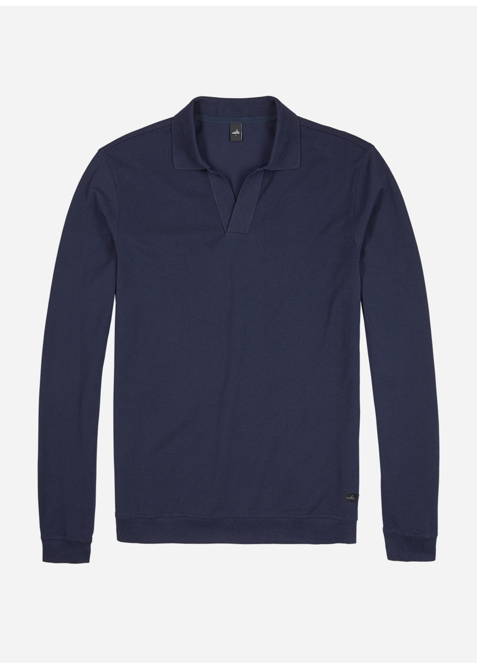Wahts Barnet long sleeve retro polo shirt navy blue