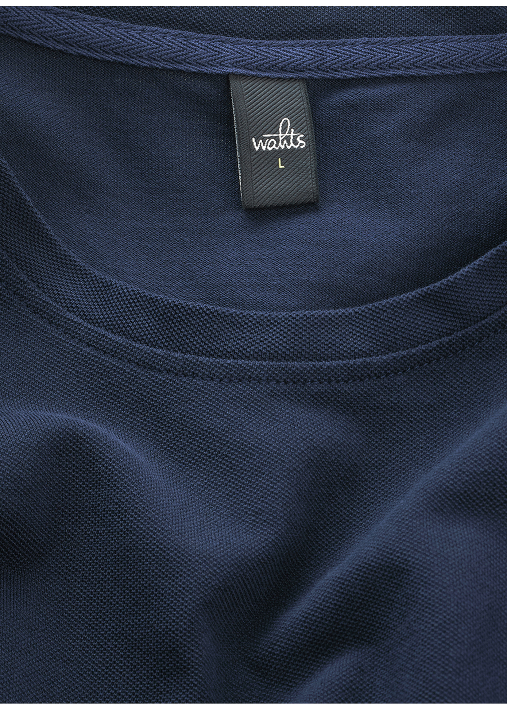 Wahts Dean piqué crew neck t-shirt navy blue
