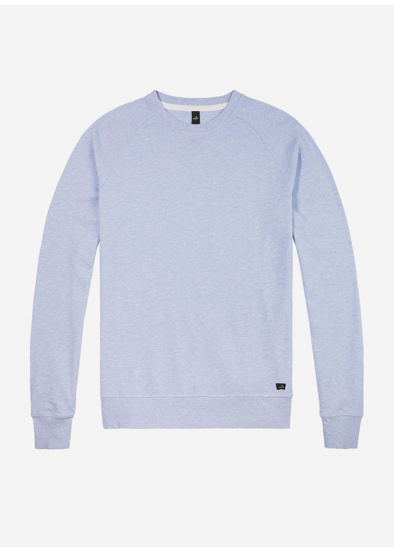 Wahts Rowe piqué crew neck sweater light blue melange