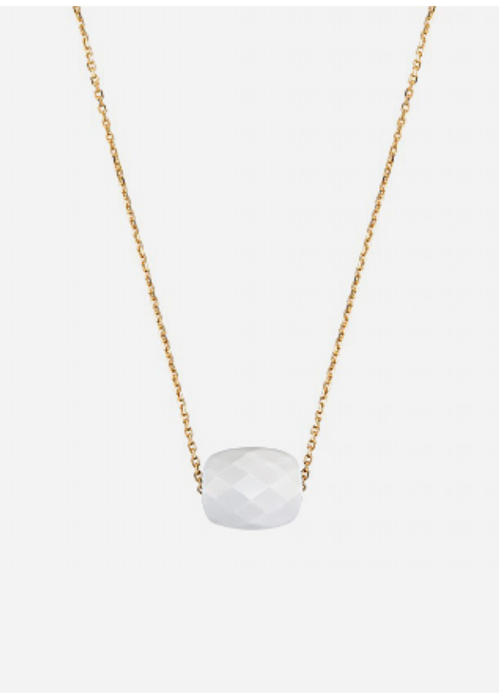 Morganne Bello Cushion white agate necklace yellow gold