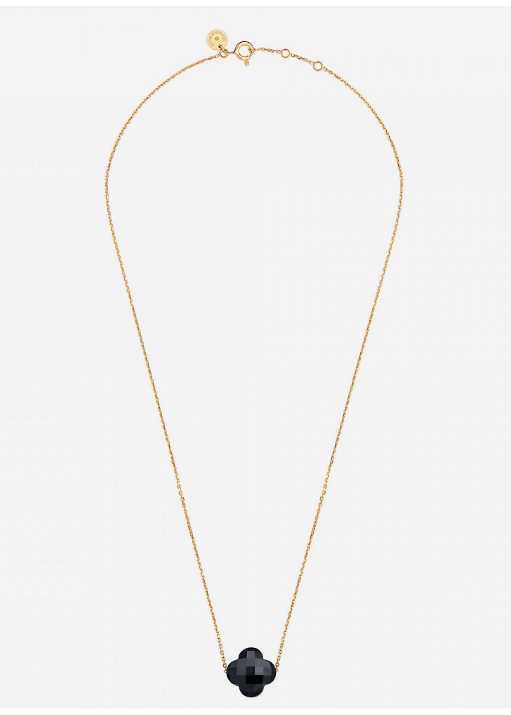 Morganne Bello Clover onyx necklace yellow gold