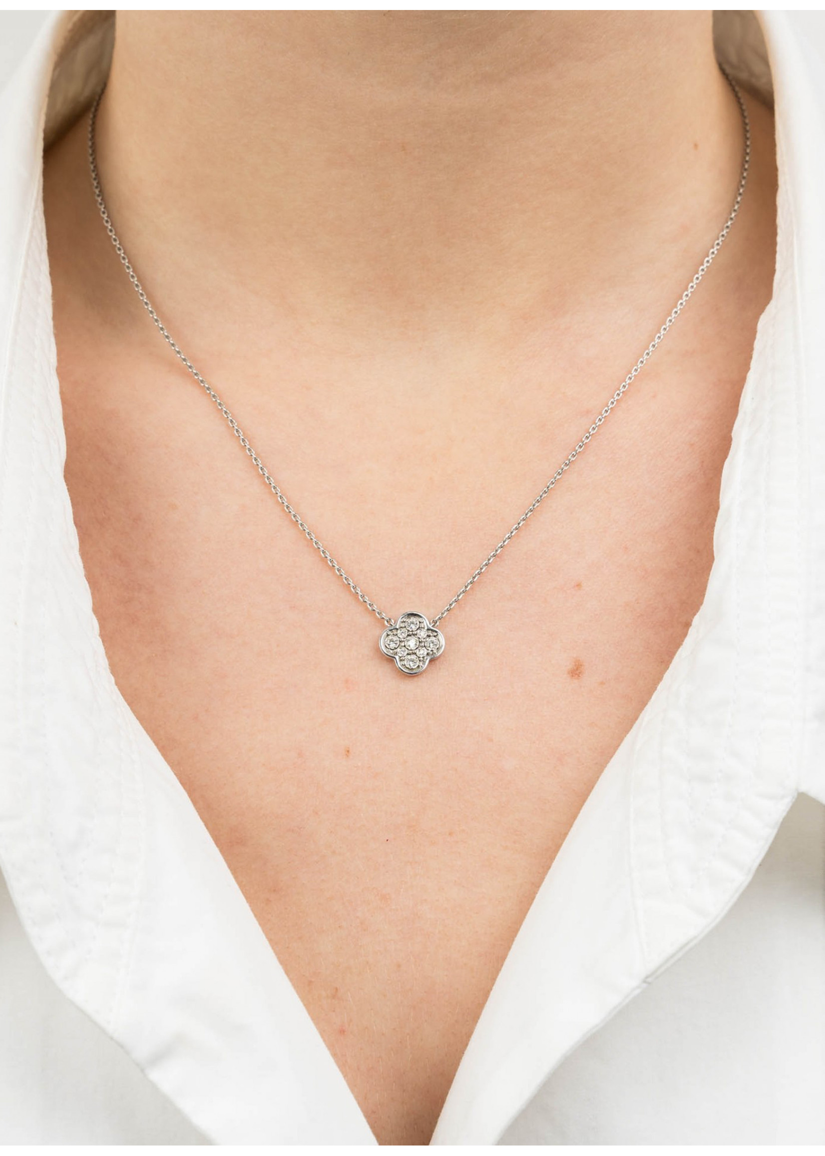Morganne Bello Clover white diamond necklace white gold