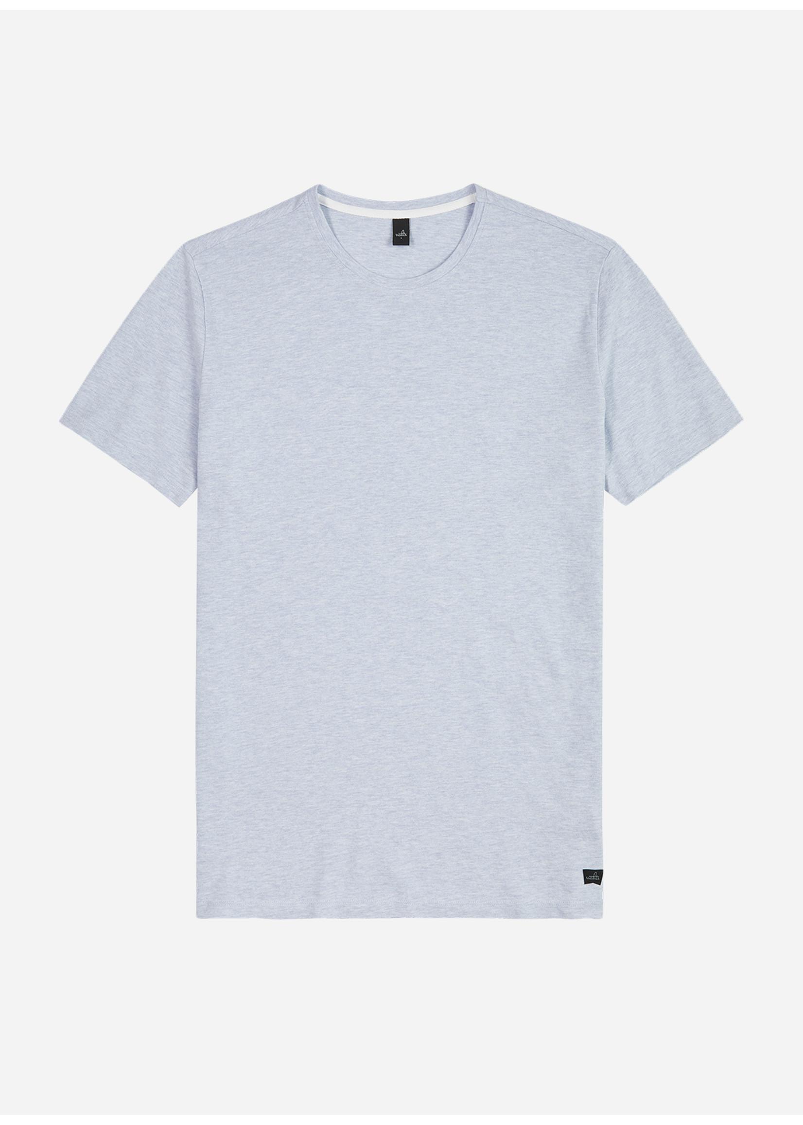 Wahts Dean piqué crew neck t-shirt light blue melange