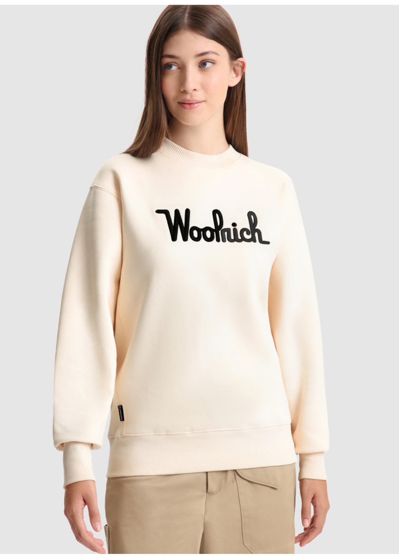 Woolrich Logo Fleece Sweatshirt Ivory