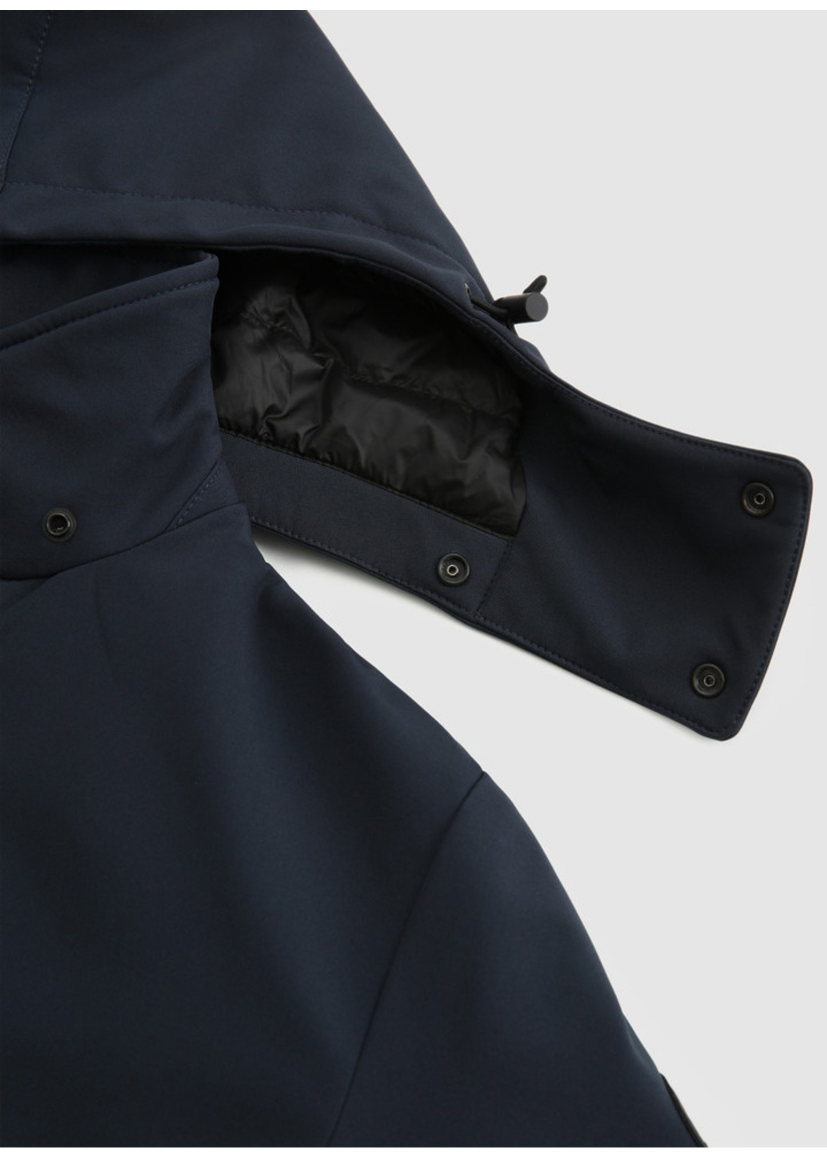 Woolrich Barrow Mac Soft Shell Coat Melton Blue