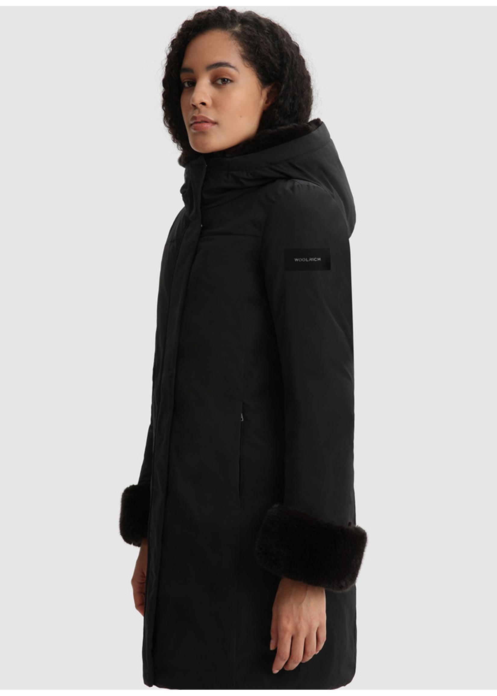 Woolrich Luxury Boulder Faux Fur Parka Black