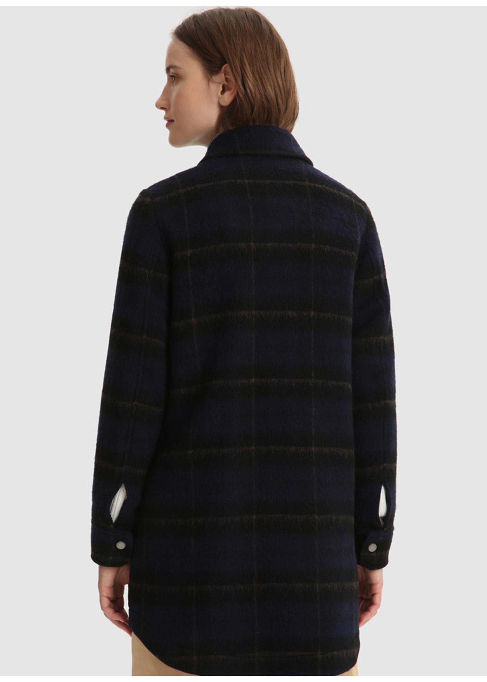 Woolrich Cozy Wool Medium Overshirt Blue Check