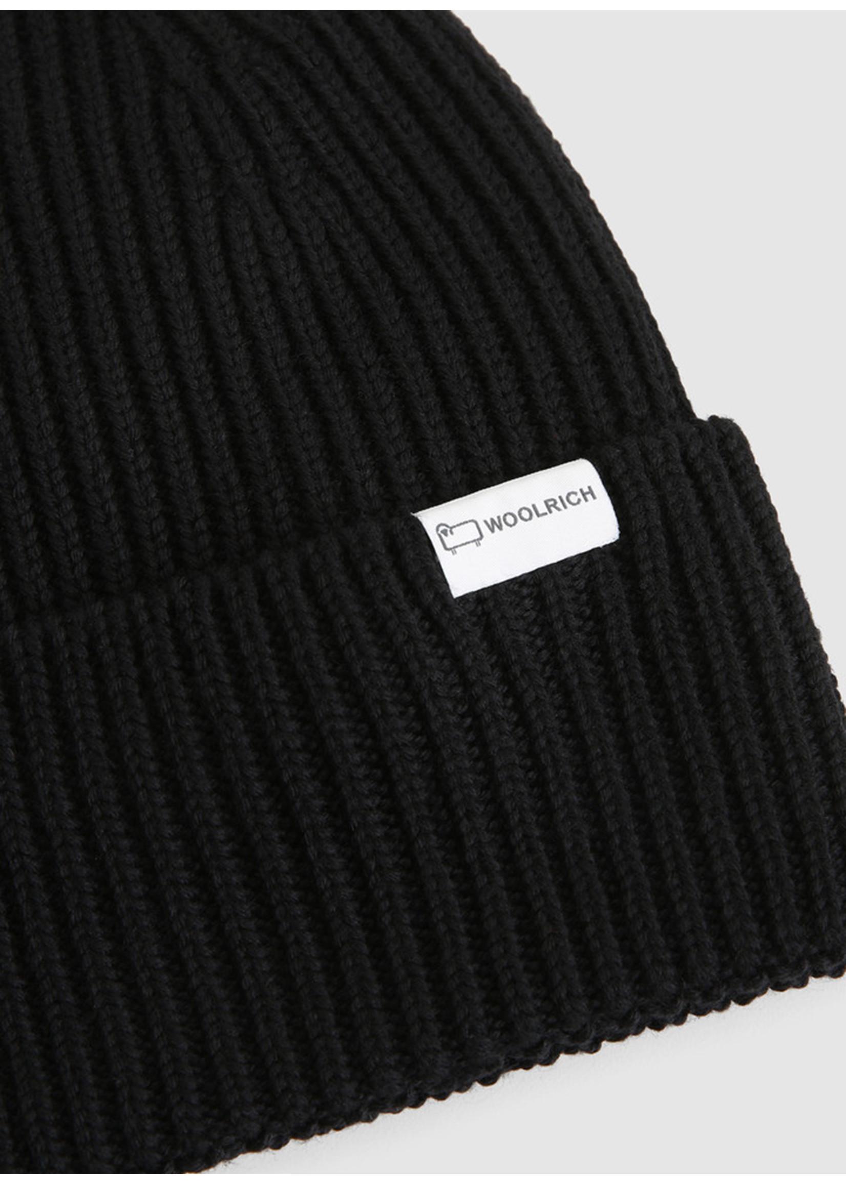 Woolrich Double Rib Beanie Hat Black