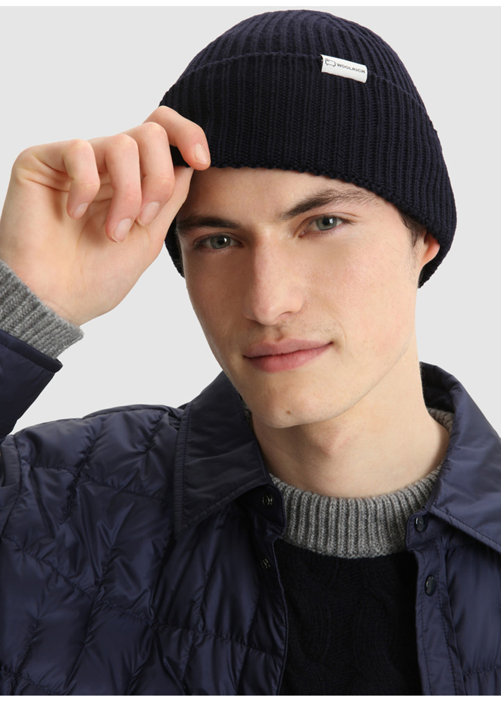 Woolrich Double Rib Beanie Hat Melton Blue