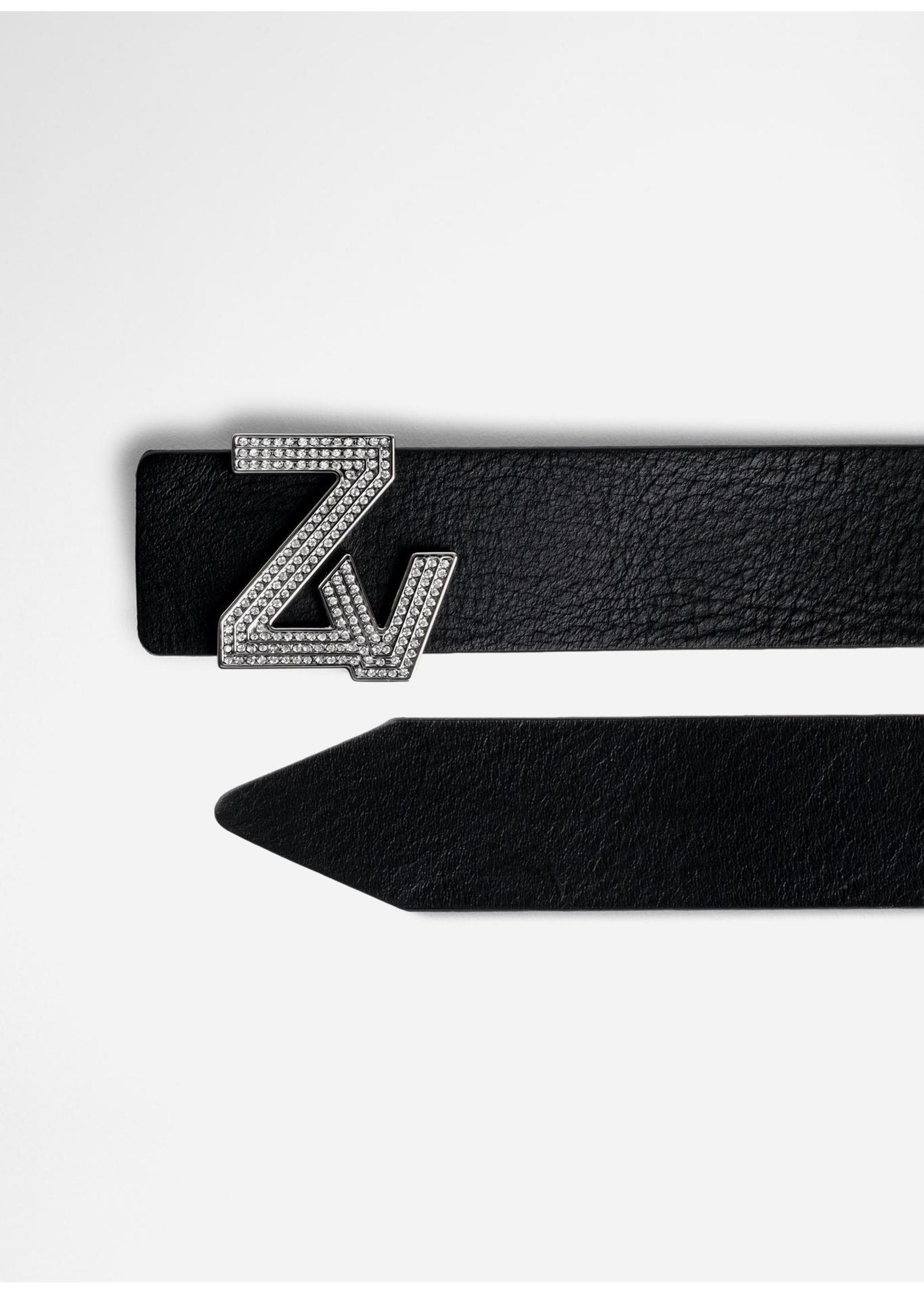 Zadig & Voltaire Initiale Belt Black Crystals