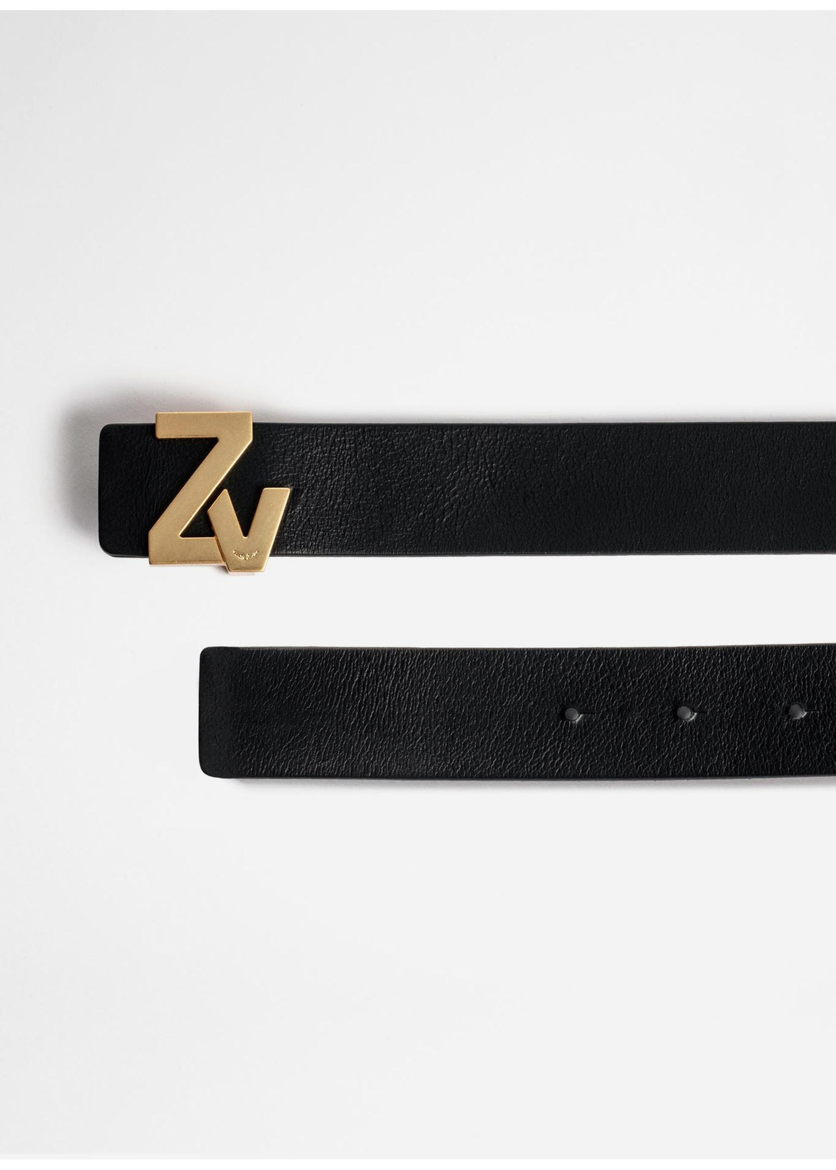 Zadig & Voltaire Initiale Belt Black Gold