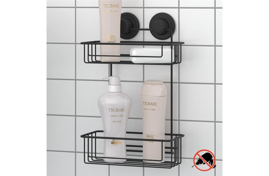 2 Tier Bath Shelf With Suction Cup, Bathroom Shelf Suction