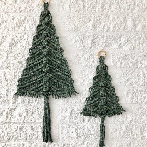 Hearts Kerstbomen macramé hangers 2 maten