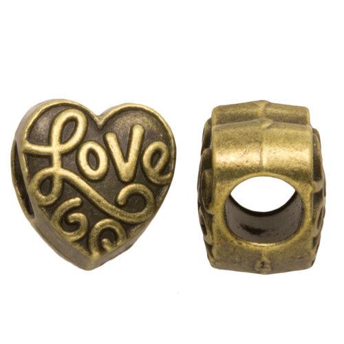 Hearts Hearts Metalen kraal Lots of love brons