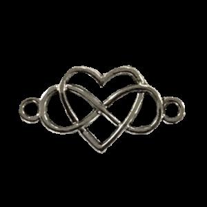 Tussenstuk hartje met infinity zilver