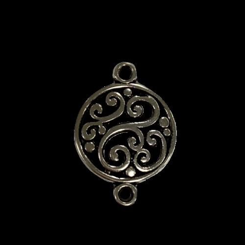 Zilveren tussenstuk in een ronde vorm met swirls