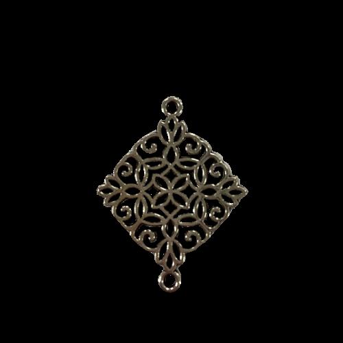 Zilveren tussenstuk in de vorm van een vierkante mandala