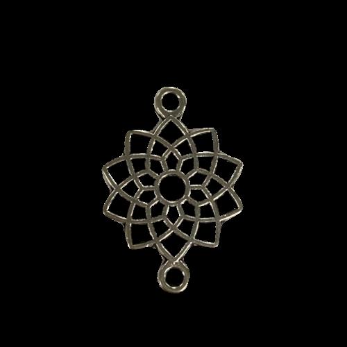 Zilveren tussenstuk in de vorm van een chrysant bloem