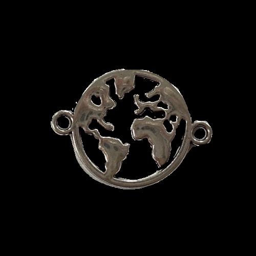 Zilveren tussenstuk in de vorm van een wereldbol