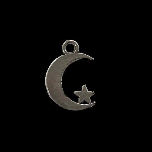 Zilveren bedel in de vorm van een maantje met een ster