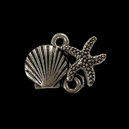 Tussenstuk schelpje met zeester zilver