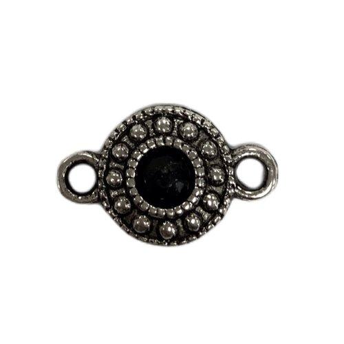 Tussenstuk zwart steentje zilver