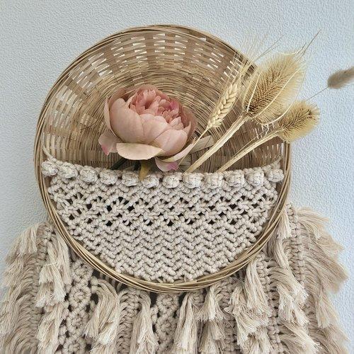 Hearts Bamboo gevlochten mand met macramé, compleet pakket