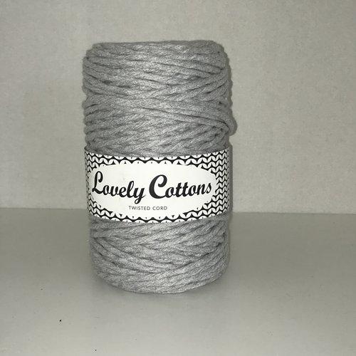Sale! Lovely Cottons 3 mm single twist grijs 100 meter