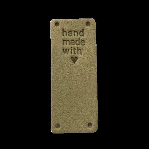 Label staand handmade with love beige suedine