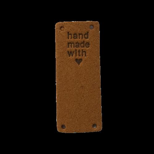 Label staand handmade with love roest suedine