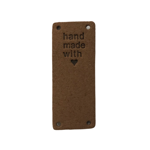 Label staand handmade with love bruin suedine