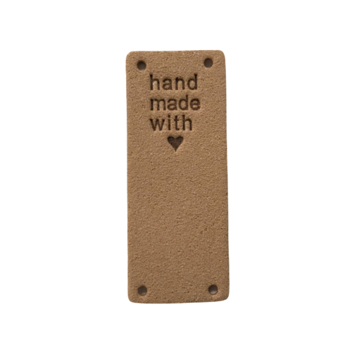 Label staand handmade with love old peach