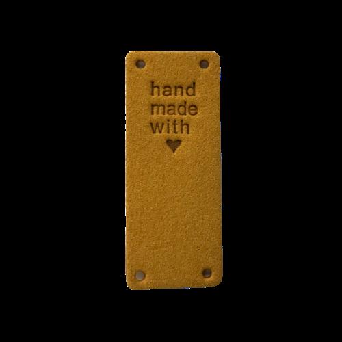 Label staand handmade with love okergeel