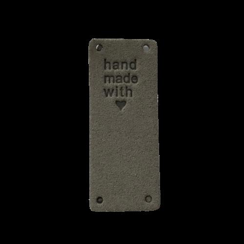 Label staand handmade with love grijs