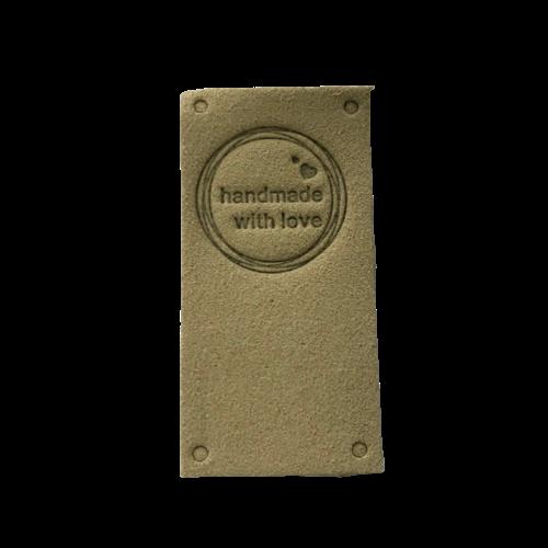 Label staand handmade with love beige cirkel