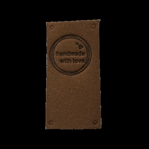 Label staand handmade with love bruin cirkel