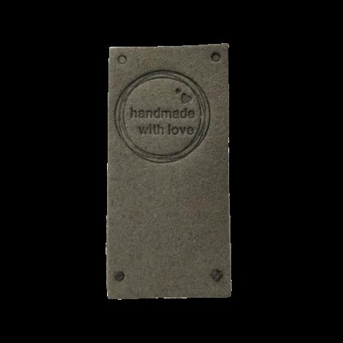 Label staand handmade with love cirkel grijs