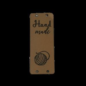 Label staand handmade bolletje wol bruin