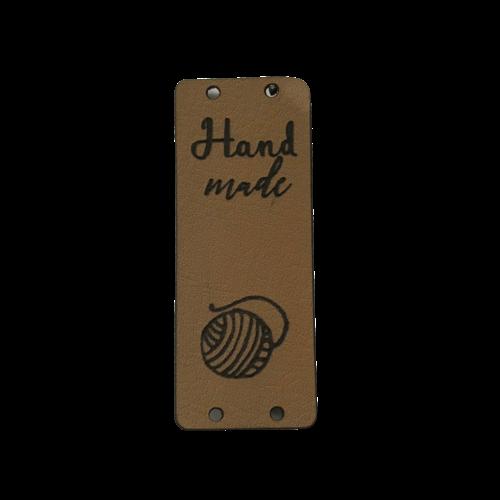 Label staand handmade bolletje wol bruin(leatherlook)