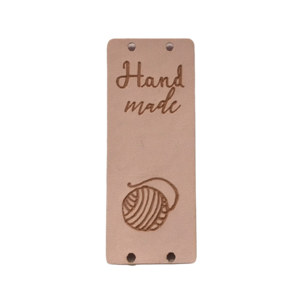 Label staand handmade bolletje wol soft pink
