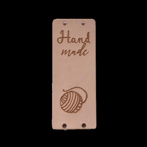 Label staand handmade bolletje wol soft pink (leatherlook) - Copy