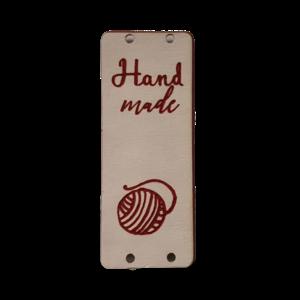 Label staand handmade bolletje wol pink /bordeaux