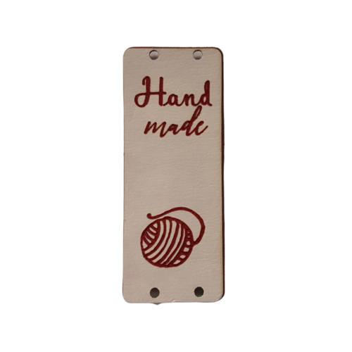 Label staand handmade bolletje wol pink/bordeaux (leatherlook)