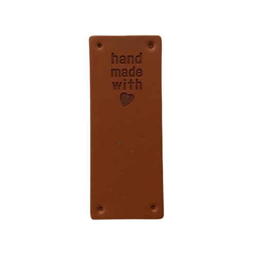 Label staand handmade with love roest leatherlook