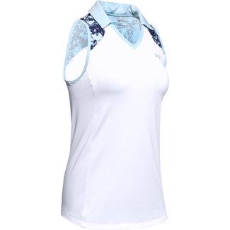 Under Armour UA Zinger Sleeveless Blocked Polo-White