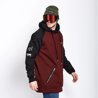 Oneskee Waterproof men's hoodie Burgundy / Black