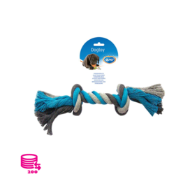 Duvo+ Speeltouw Hond katoen Blauw/Grijs 35cm