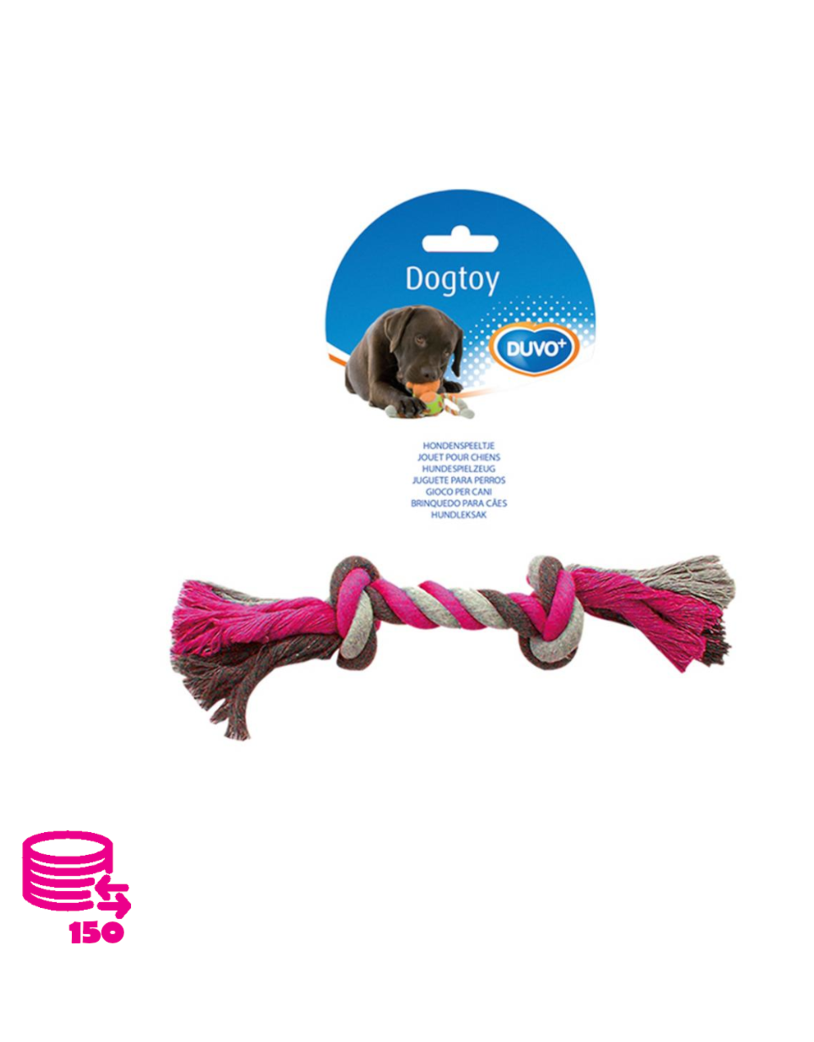 Duvo+ Play Rope Dog Cotton Pink/Grey 26cm
