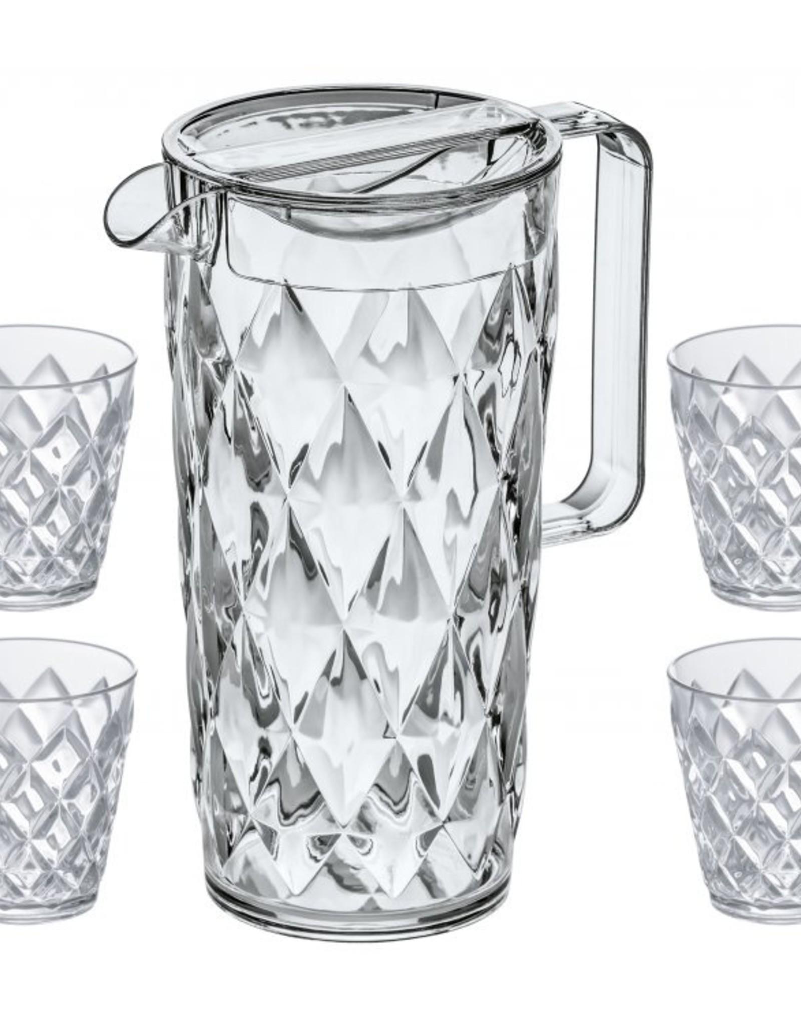 Koziol Koziol Crystal Karaf - 1,6 L - transparant helder - set met 4 glazen